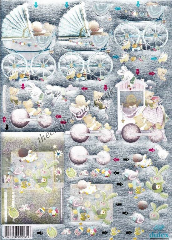 New Baby Pram Die Cut 3d Decoupage Sheet From Dufex